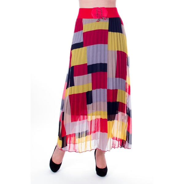 Women's Yellow and Red Geometric Print Pleated Long Skirt