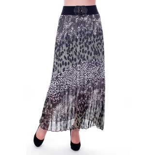 Women's Grey Animal Print Pleated Long Skirt