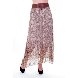 Women's Beige Animal Print Pleated Long Skirt