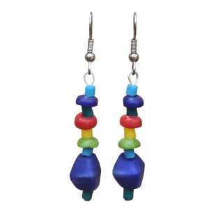 Multicolor Rainbow Glass Pebbles Earrings (Ghana)