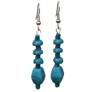 Teal Glass Pebbles Earrings (Ghana)