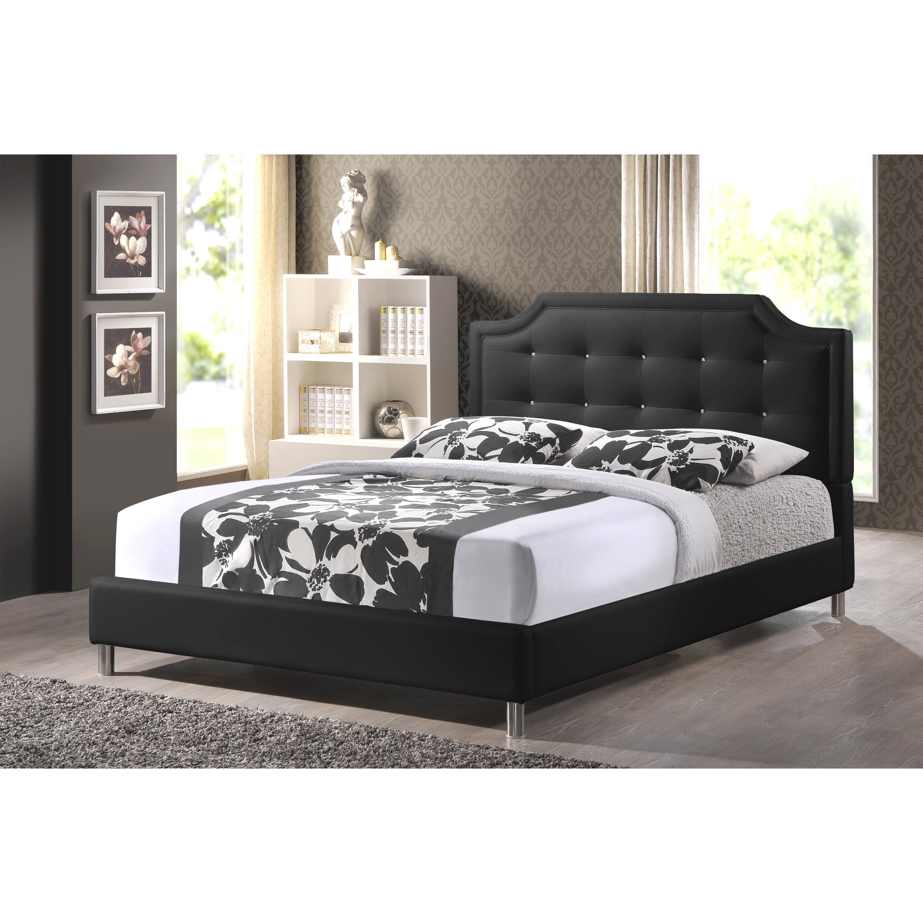 Baxton Studio Carlotta Black Modern Bed with Upholstered Headboard