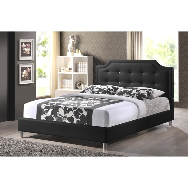 Baxton Studio Carlotta Black Modern Bed with Upholstered Headboard