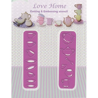 Joy! Crafts Cut & Emboss Die-Love Home-Cups & Saucers, Up To .75in