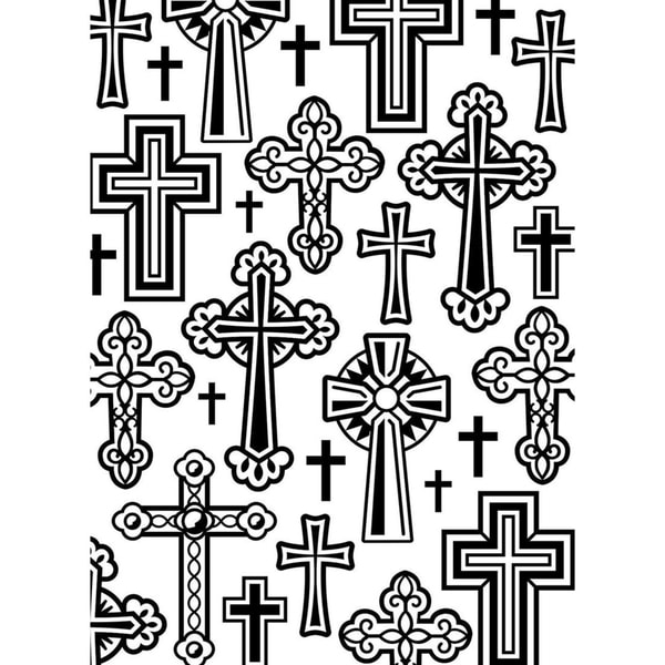 Embossing Folder 4.25inX5.75in-Crosses