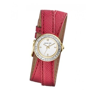 Michael Kor's Women's MK2337 Mini Madison Pink Leather Glitz Watch
