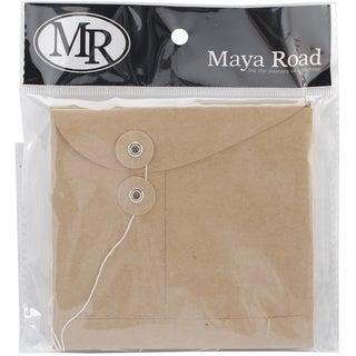 Kraft Envelopes W/Flaps & Strings 4.5inX5in 6/Pkg -Square Plain Edge