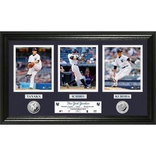 MLB New York Yankees Mashiro Tanaka, Ichiro Suzuki and Hideki Kuroda Silver Coin Panoramic Photo Mint