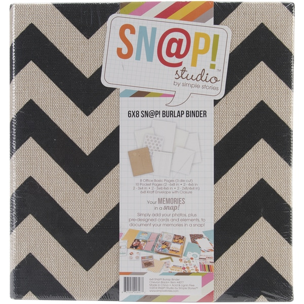 Sn@p! Burlap Binder 6inX8in-Black