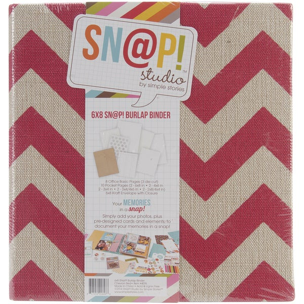 Sn@p! Burlap Binder 6inX8in-Red