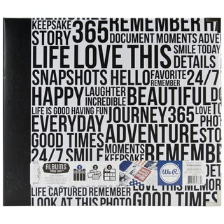 Teresa Collins Albums Made Easy 3-Ring Album 12inX12in-Quoted Black & White Wordfetti