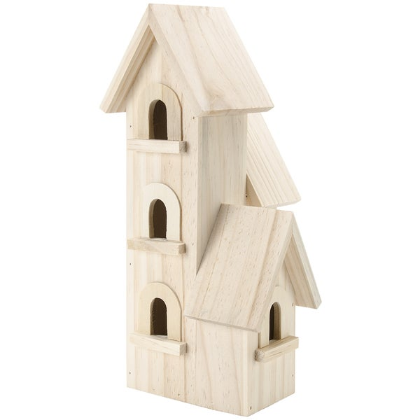 Natural Wood Birdhouse 12in-Manhattan