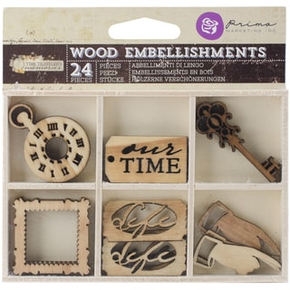 Time Traveler Laser Cut Wood Icons In A Box 24 Pieces-6 Designs