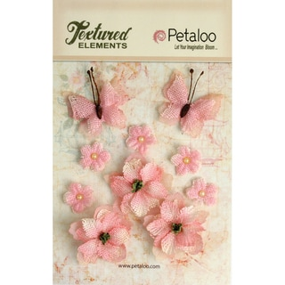 Textured Elements Burlap Blossoms Flowers/Butterflies 10/Pkg-Pink