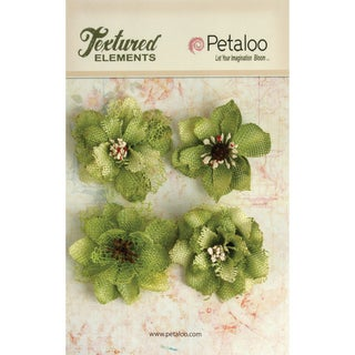 Textured Elements Burlap Blossoms 4/Pkg-Pistachio