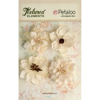 Textured Elements Burlap Blossoms 4/Pkg-Ivory