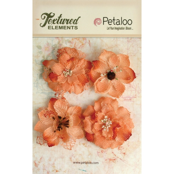 Textured Elements Burlap Blossoms 4/Pkg-Apricot