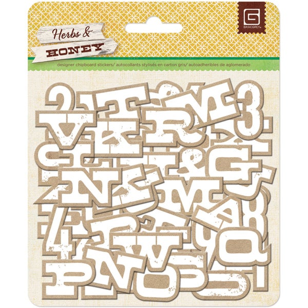 Herbs & Honey Printed Self-Adhesive Chipboard-Kraft W/White Alphabet