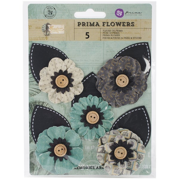 Seashore Flowers-Paper Waves 3in W/Button & Leaf, 5/Pkg