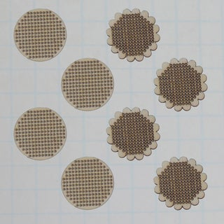 Wooden Shapes 8/Pkg-Stitched Scallop & Circle Charm 1.5in