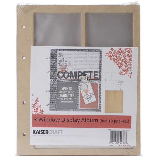 Beyond The Page MDF 3 Window Display Album W/10 Pockets-6.75inX8.5inX.5in