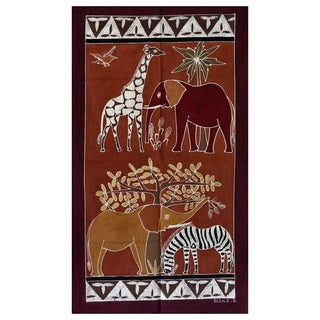Hand-painted 'Safari Animals' Tapestry (Zambia)