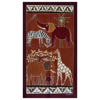Hand-painted 'African Animals' Tapestry (Zambia)