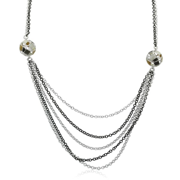 Gioelli Sterling Silver Enamel Ball Link Chain Necklace