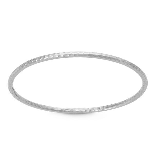 Gioelli Sterling Silver Hammered Bangle Bracelet