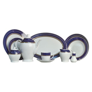 Alpine Cuisine White/ Blue 49-piece Dinner Set