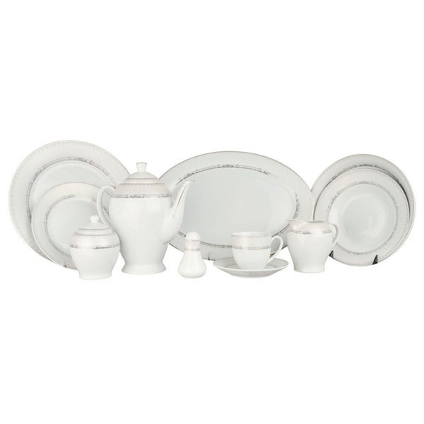 Alpine cuisine white silver line 49 piece dinner set for Alpine cuisine flatware