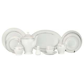 Alpine Cuisine White/ Silver Line 49-piece Dinner Set