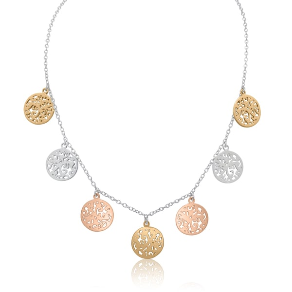 Gioelli Sterling Silver Tri-color Round Disc Chain Necklace