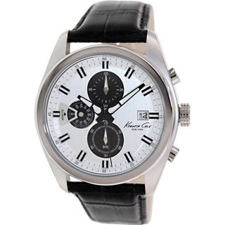 Kenneth Cole Men's KC8041 Black Leather Quartz Watch with Silvertone Dial