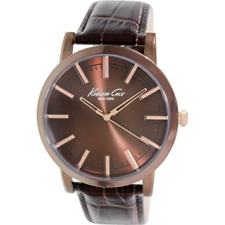 Kenneth Cole Men's KC8044 Brown Leather Quartz Watch with Brown Dial