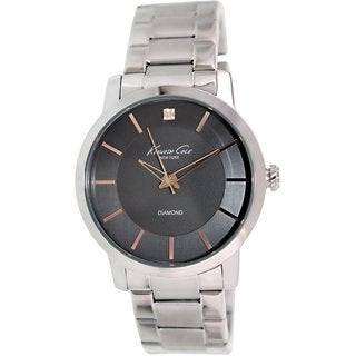 Kenneth Cole Men's KC9328 Silvertone Stainless Steel Quartz Watch with Black Dial