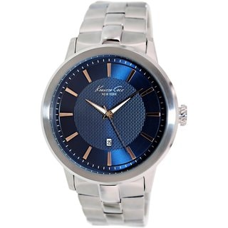 Kenneth Cole Men's KC9337 Silvertone Stainless Steel Quartz Watch with Blue Dial