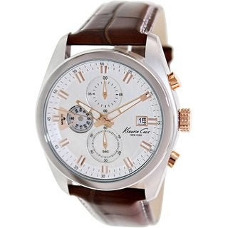 Kenneth Cole Men's KC8042 Brown Leather Quartz Watch with Silvertone Dial