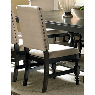 Loraine Beige Linen Nail-head Trim Side Chairs (Set of 2)