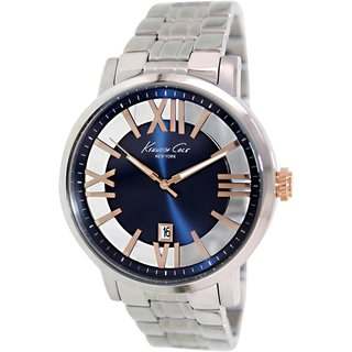 Kenneth Cole Men's KC9340 Silvertone Stainless Steel Quartz Watch with Blue Dial