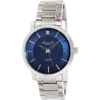 Kenneth Cole Men's KC9329 Silvertone Stainless Steel Quartz Watch with Blue Dial