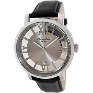 Kenneth Cole Men's KC8011 Black Leather Quartz Watch with Silvertone Dial