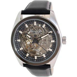 Kenneth Cole Men's KC8040 Black Leather Quartz Watch with Black Dial