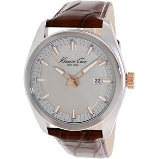 Kenneth Cole Men's KC8038 Brown Leather Quartz Watch with Silvertone Dial
