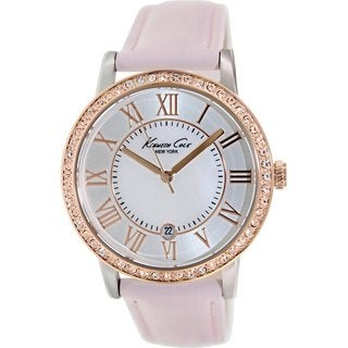 Kenneth Cole Women's KC2845 Pink Leather Quartz Watch with Mother-Of-Pearl Dial