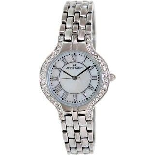Anne Klein Women's 10-9671MPSV Silvertone Stainless Steel Quartz Watch with Mother-Of-Pearl Dial