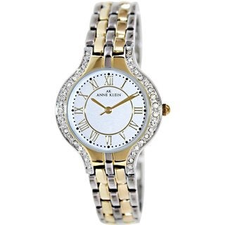 Anne Klein Women's 10-9671SVTT Two-Tone Stainless Steel Quartz Watch with Silvertone Dial