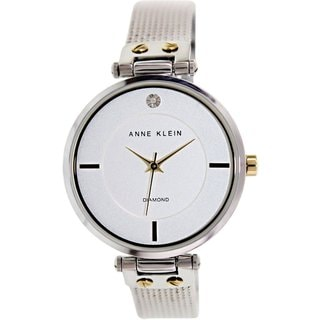 Anne Klein Women's AK-1427SVTT Silvertone Stainless Steel Quartz Watch with White Dial
