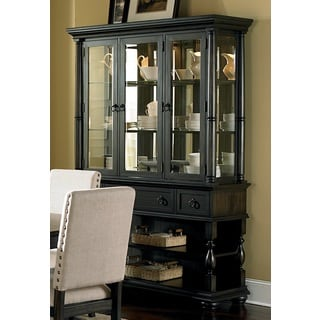 Loraine Antiqued Charcoal Buffet and Hutch