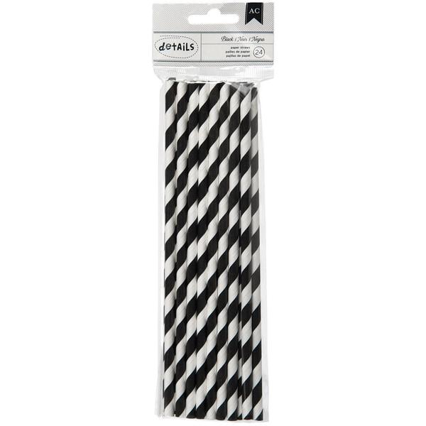 Details Lined Paper Straws 24/Pkg-Black